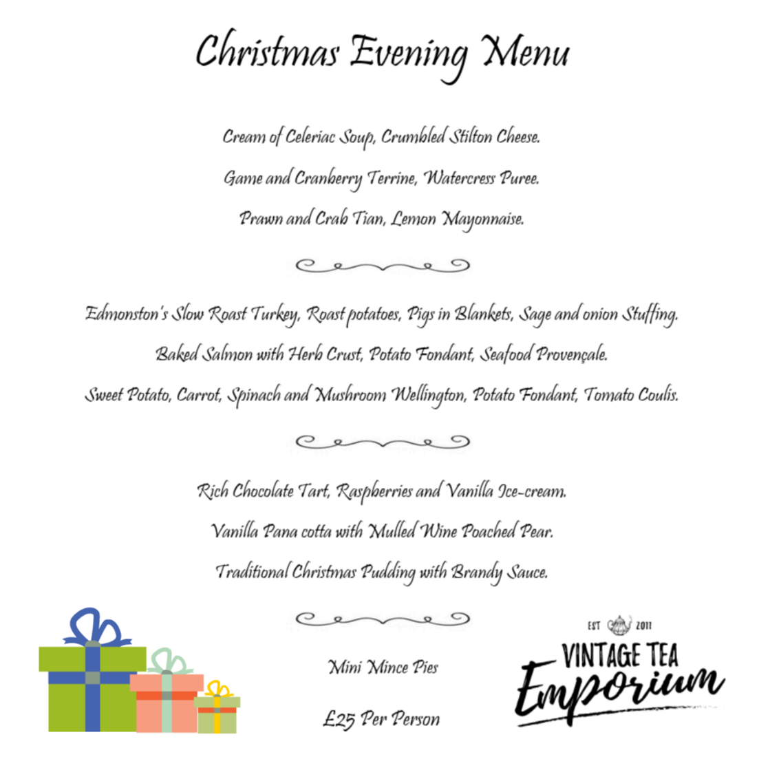 Vintage Tea Emporium Christmas dinner party menu