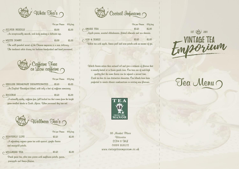 Vintage Tea Emporium Tea Menu
